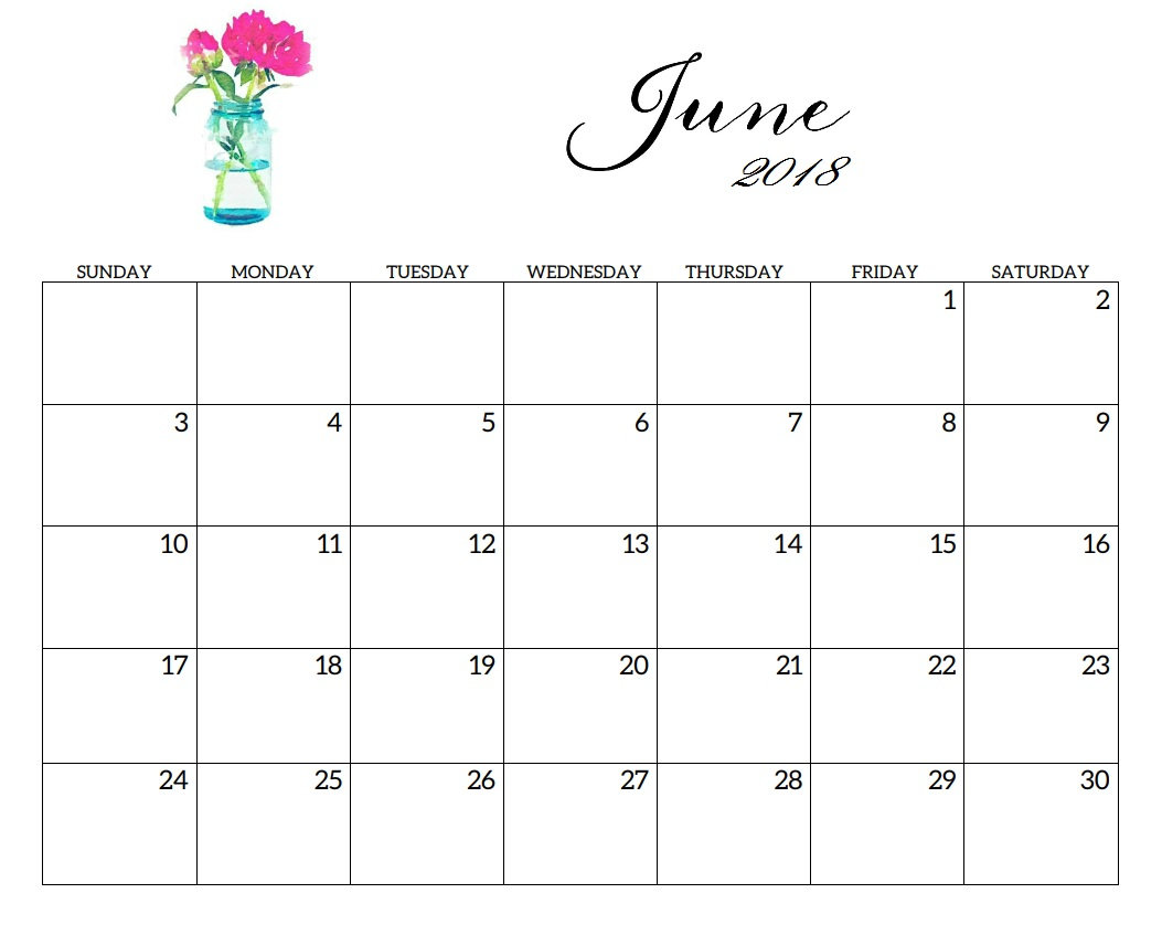 Printable 2018 June Cute Calendar