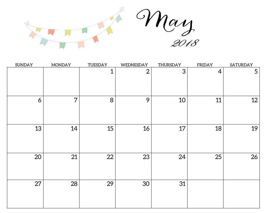 Printable 2018 May Monthly Blank Template