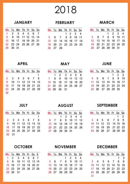 Printable 2018 One Page Calendar