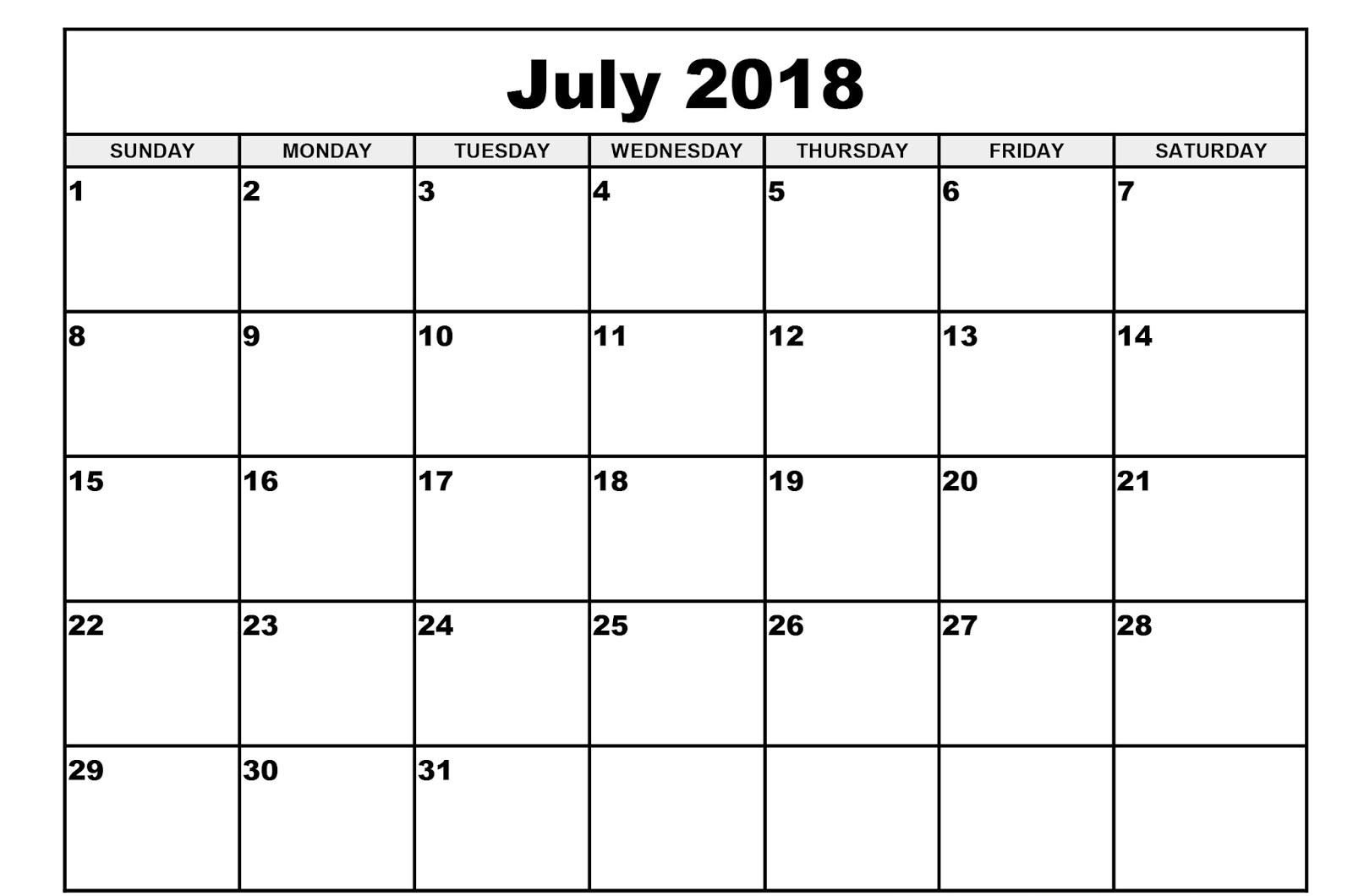 Printable Blank Calendar July 2018