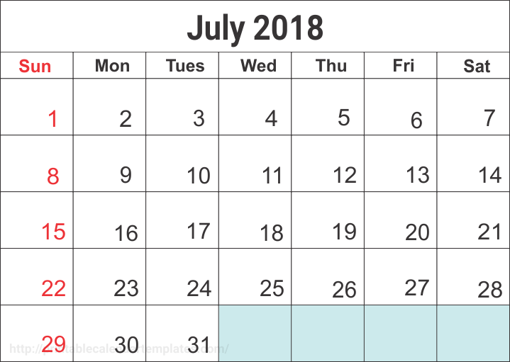 Printable Blank July Calendar 2018
