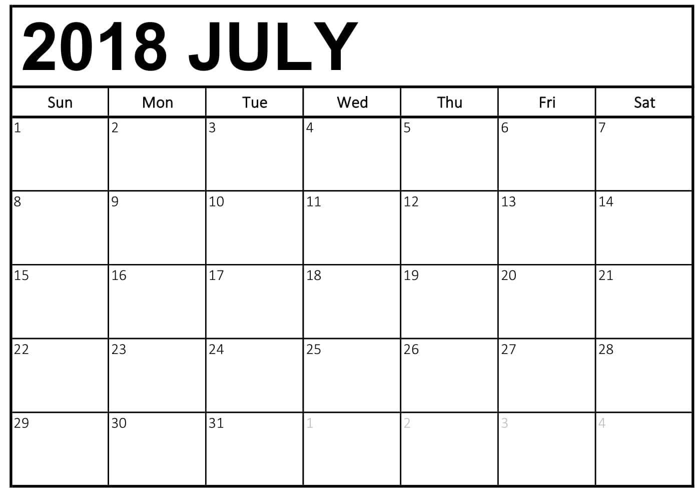 Printable Calendar 2018 July