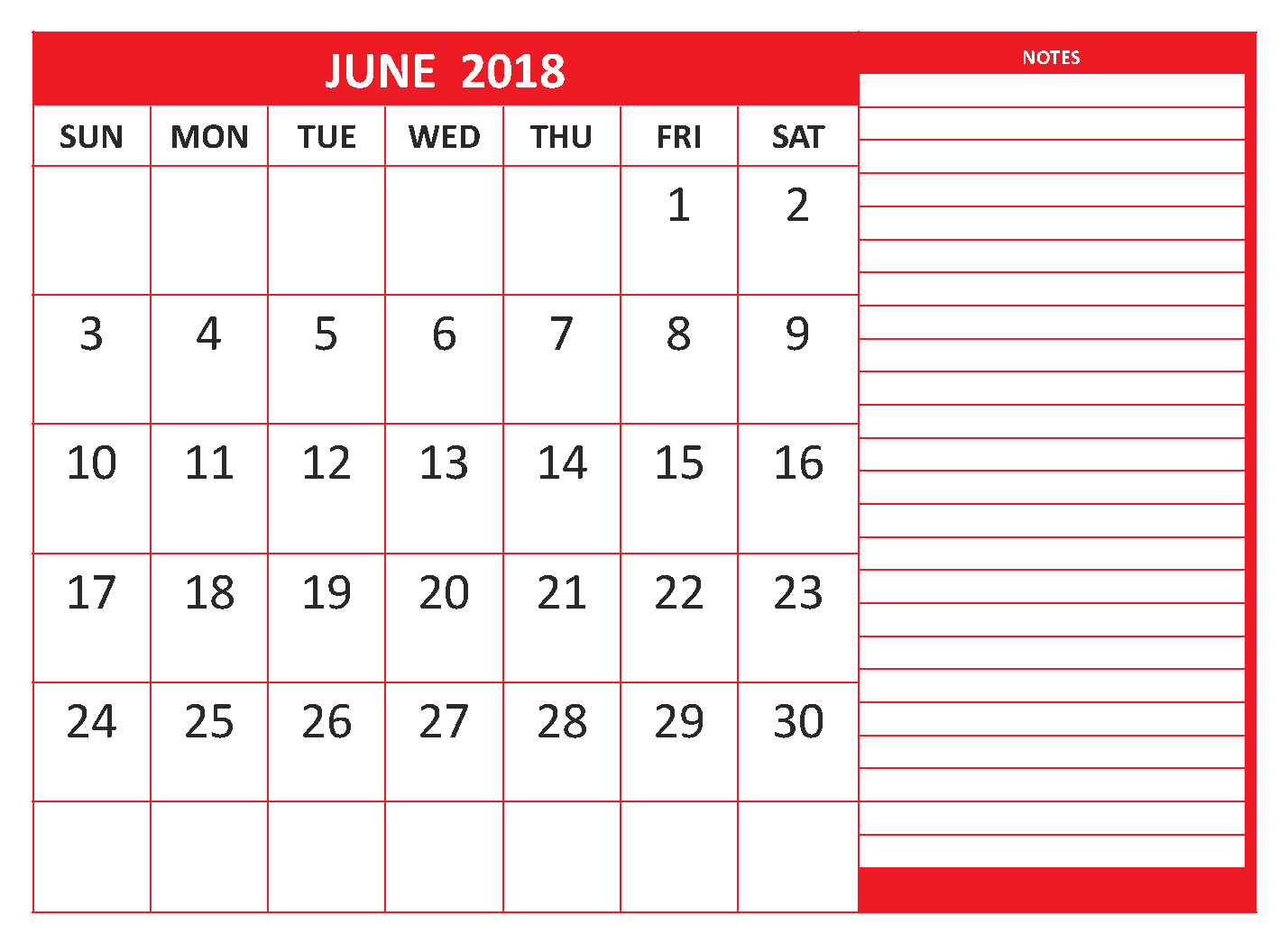 Printable Calendar June 2018 Template