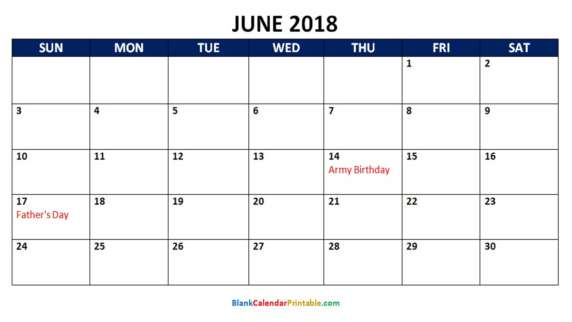 Printable Calendar June 2018 with Holidays