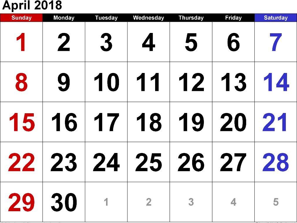 Printable Calendar May 2018 Excel Editable, Blank