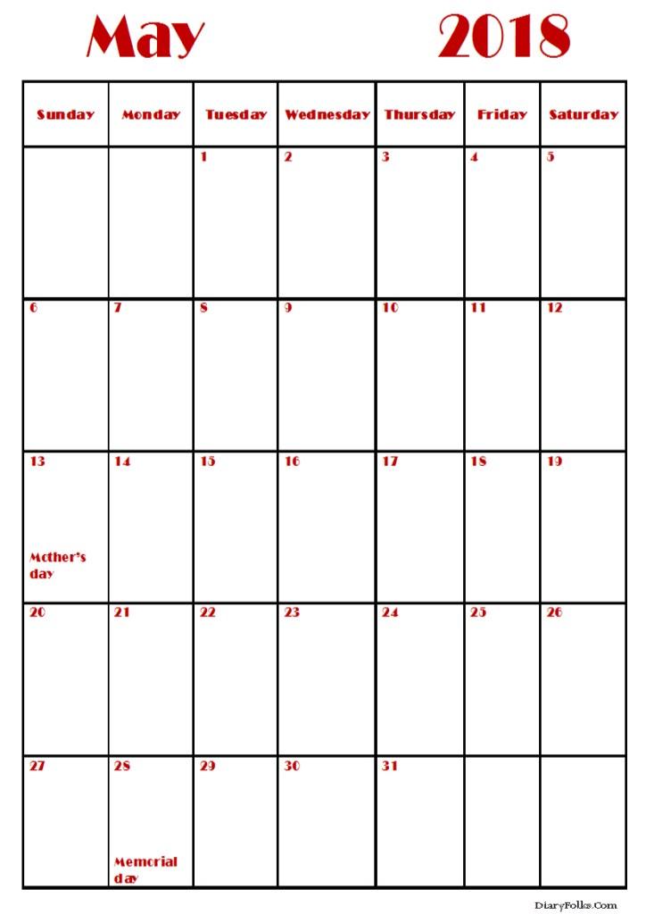 Printable Calendar May 2018 Landscape