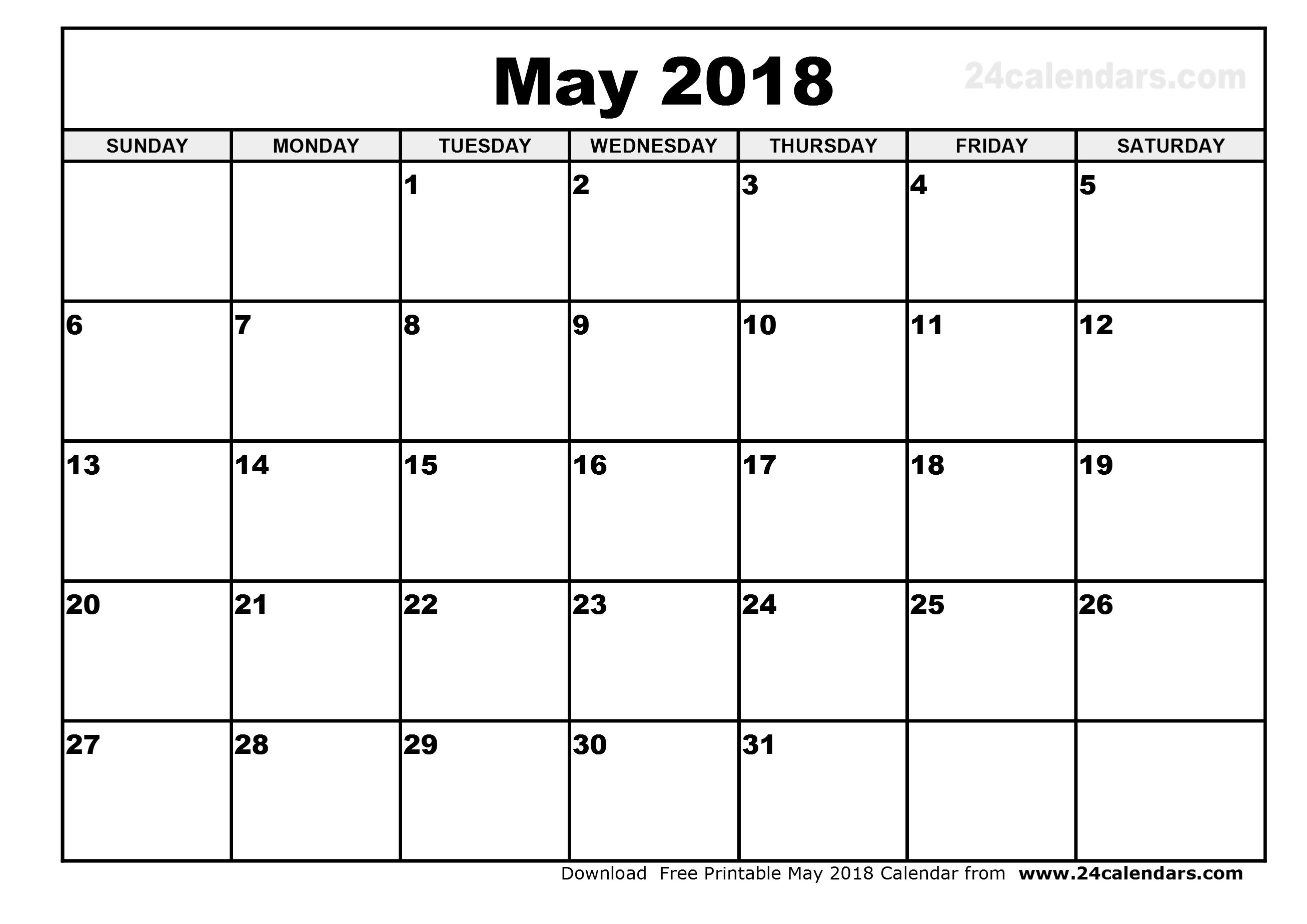 Printable Calendar May 2018 PDF