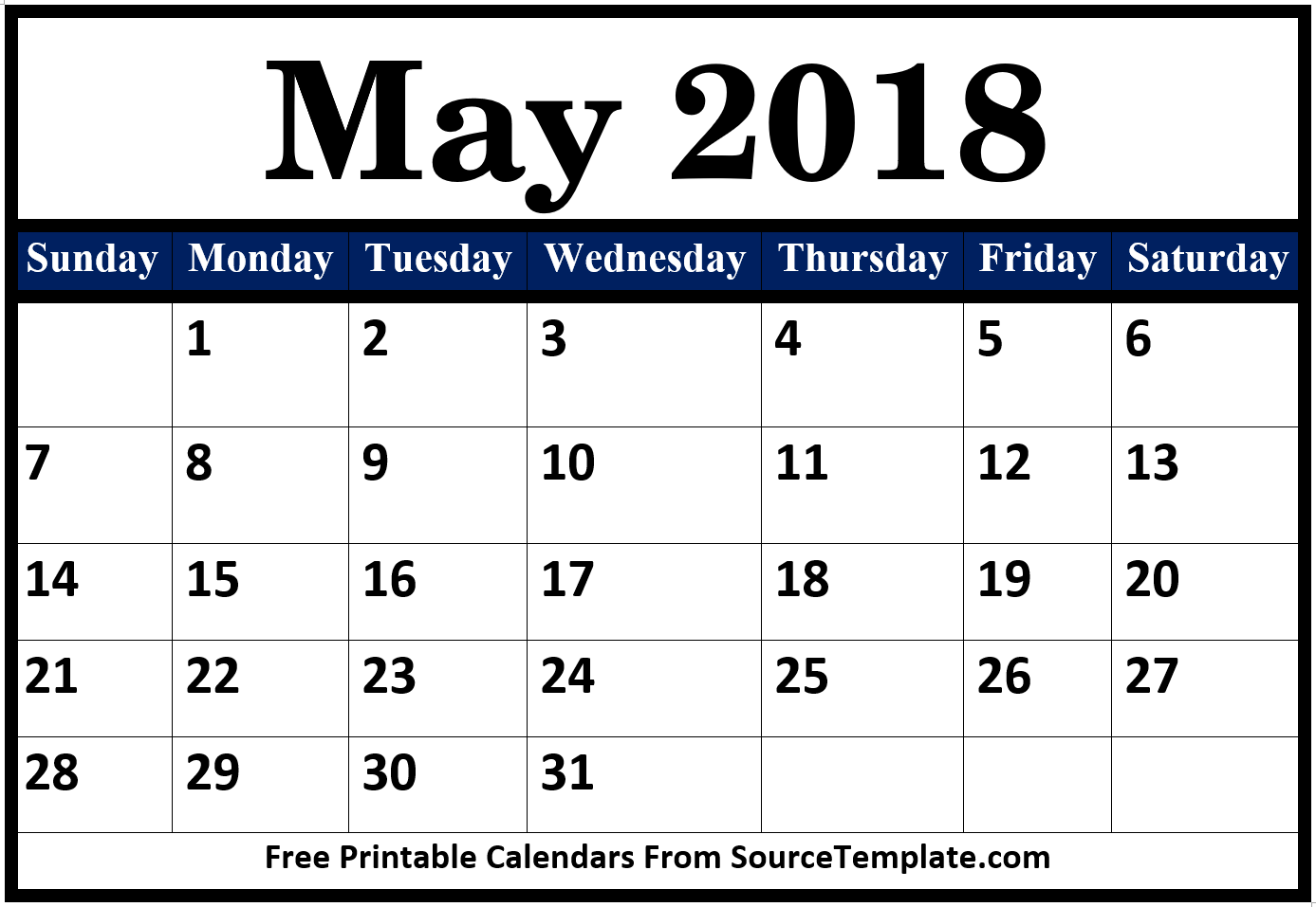 Printable Calendar May 2018 USA