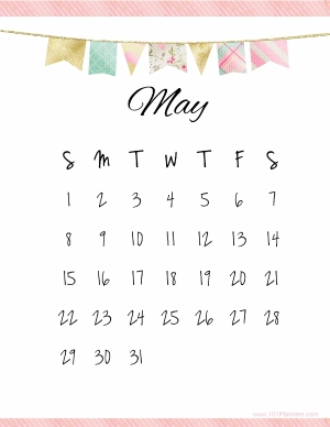 Printable Cute May 2018 Calendar