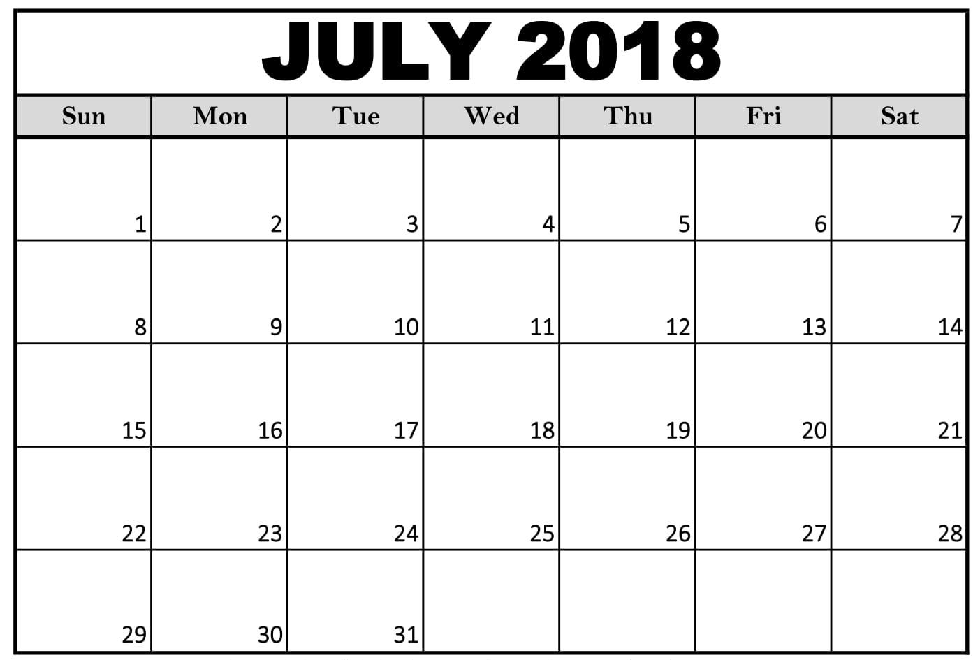 Printable July Calendar 2018 PDF
