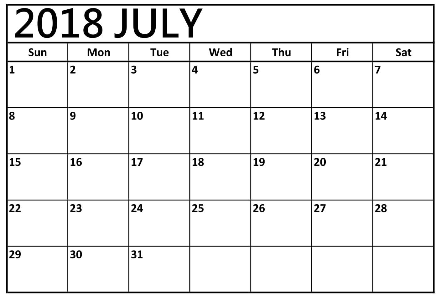 Printable July Calendar 2018 Template