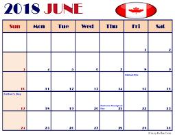 Printable June 2018 Calendar Canada