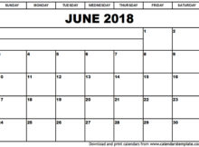 Printable June 2018 Calendar Document