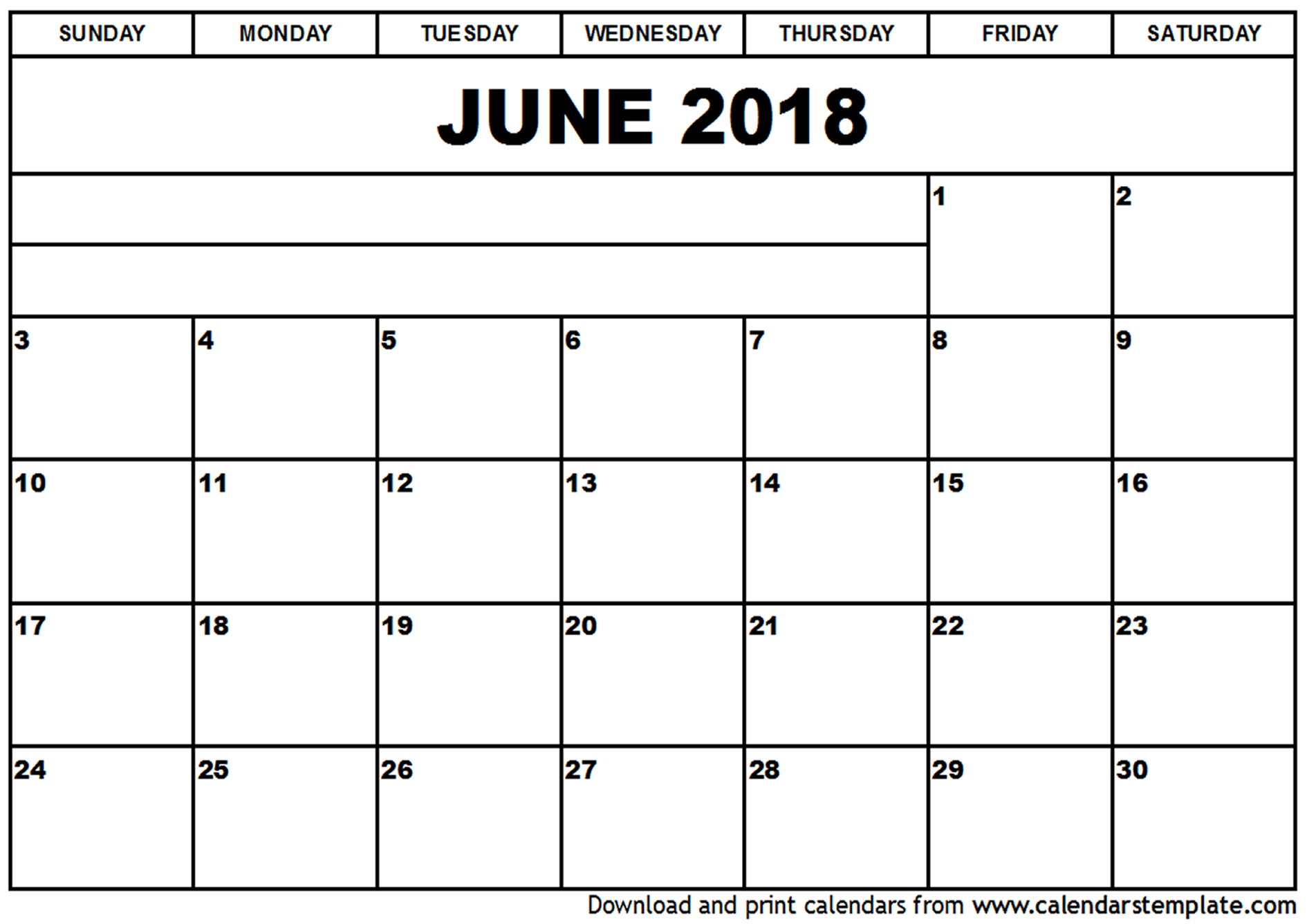 Printable June 2018 Calendar Document