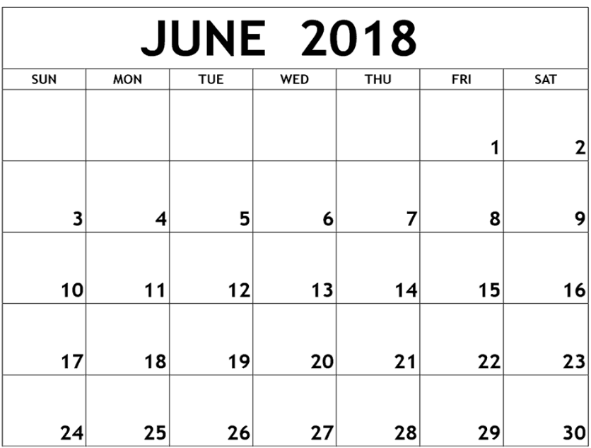 Printable June 2018 Calendar Portrait