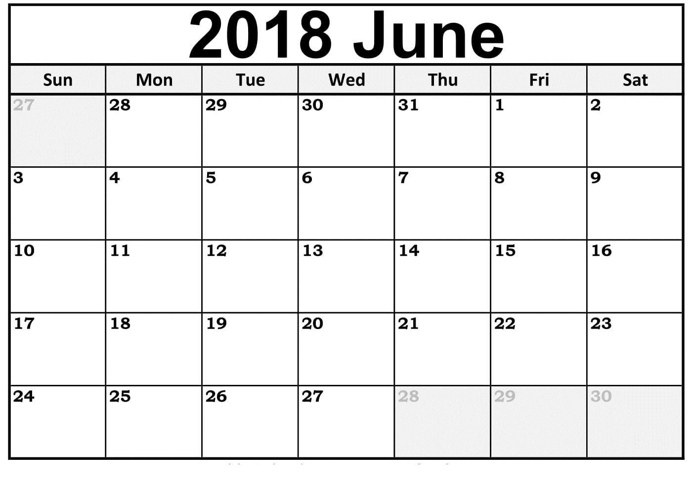 Printable June 2018 Calendar Template