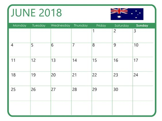 Printable June 2018 Calendar With Holidays UK