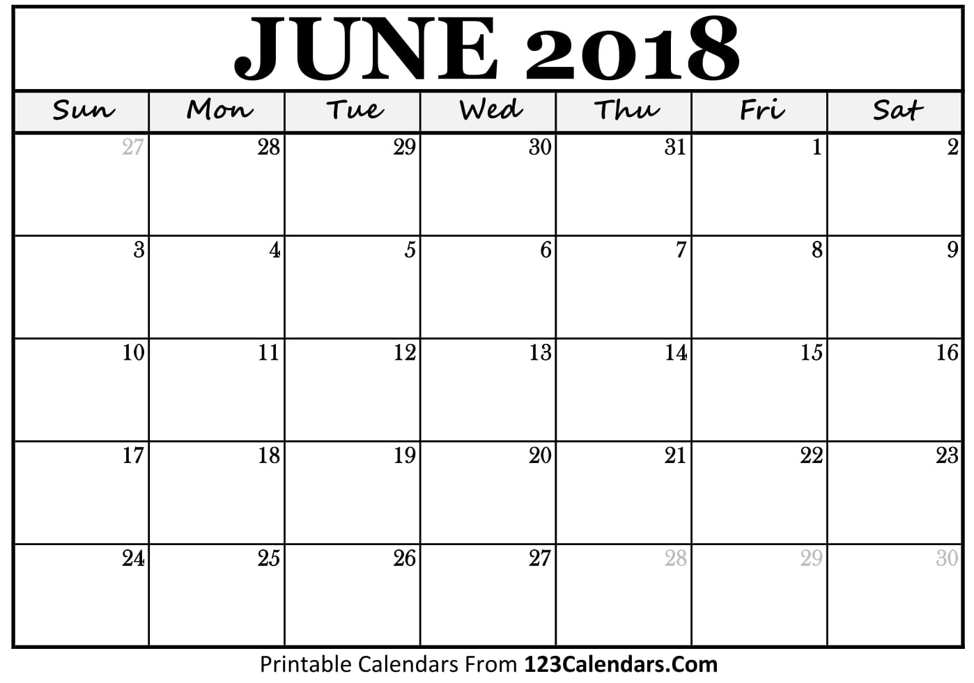 Printable June 2018 Chicago Calendar Template