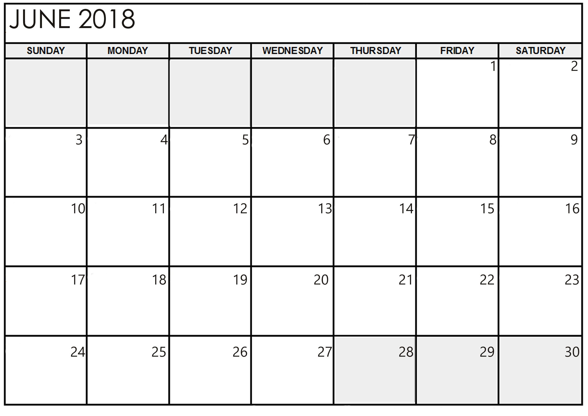 Printable June 2018 Chicago Calendar