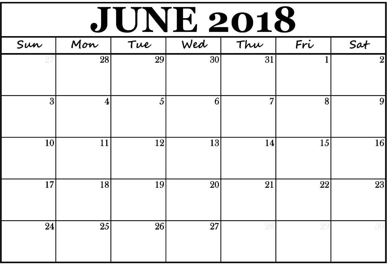 Printable June 2018 Monthly Calendar