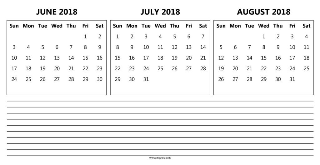 Printable June July August 2018 Calendar Download