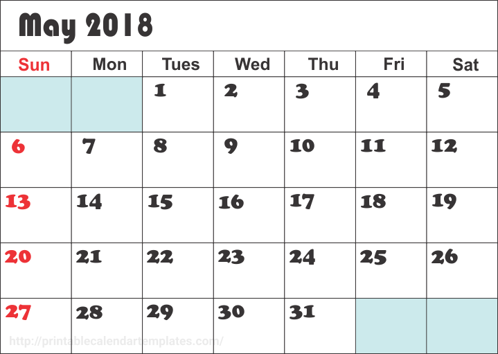 Printable May 2018 Calendar Blank Templates