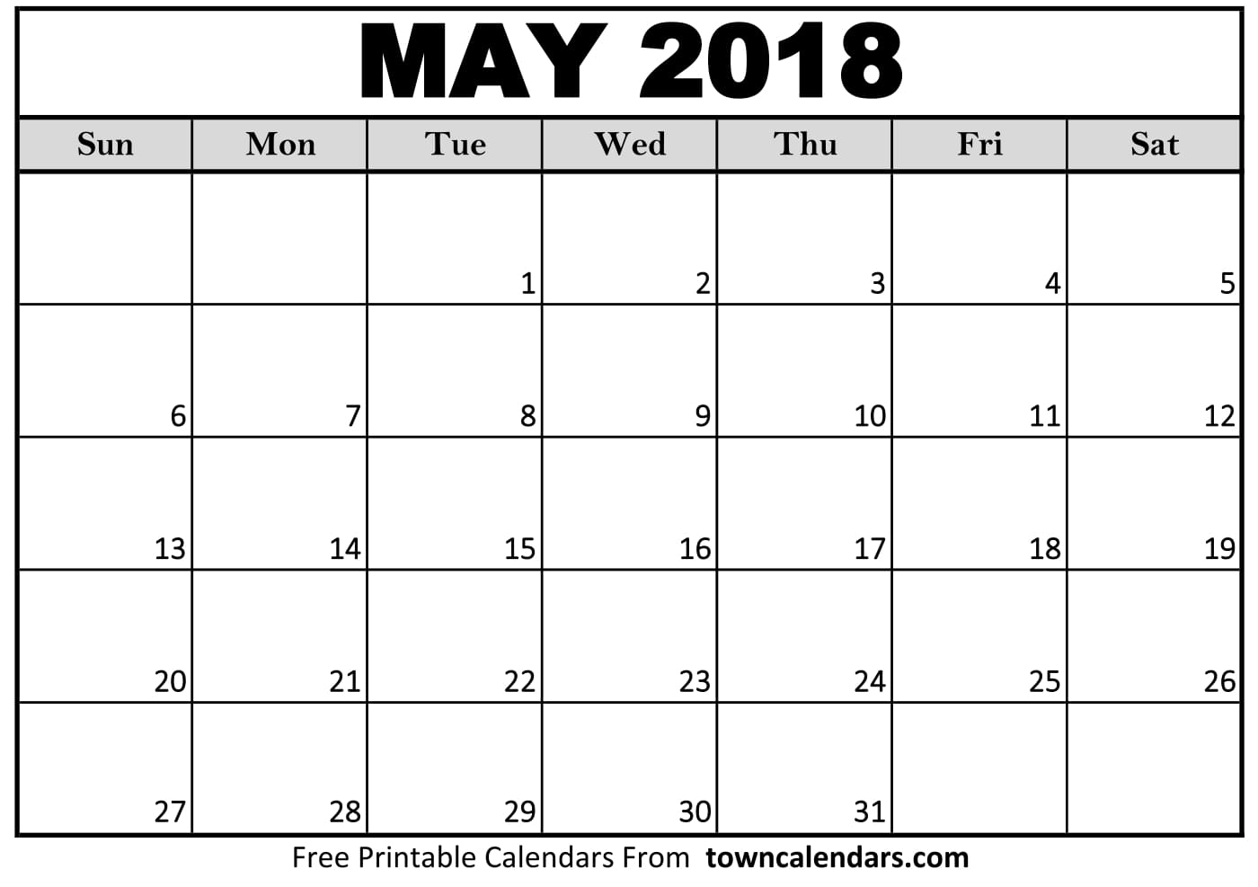 Printable May 2018 Calendar Template
