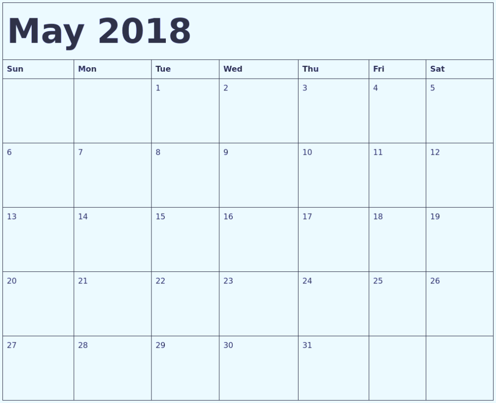Printable May 2018 Calendar USA