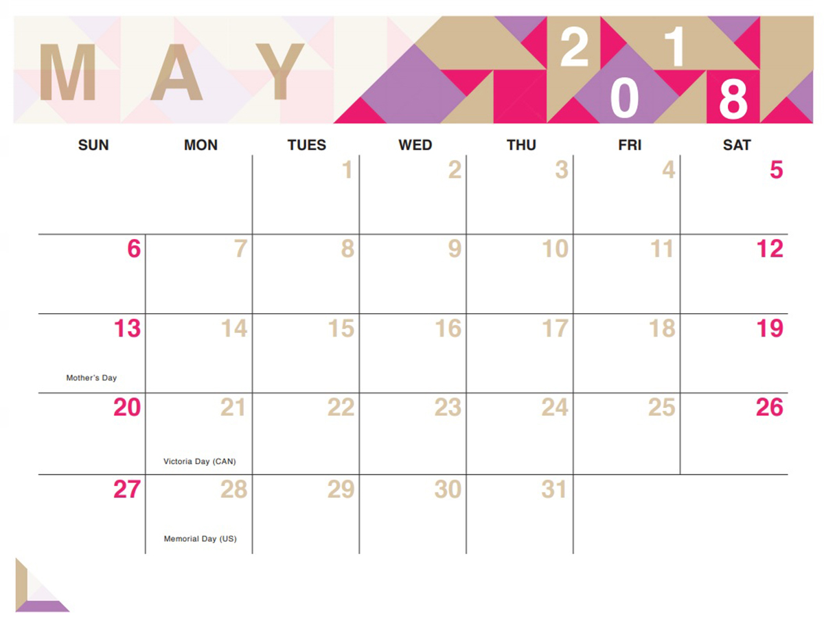 Printable May 2018 Calendar Violet Template