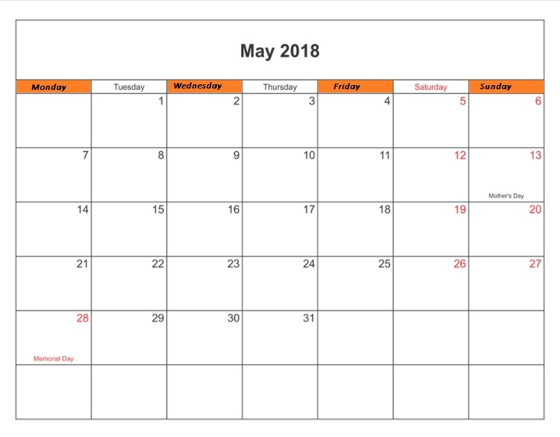 Printable May 2018 Calendar With Holidays