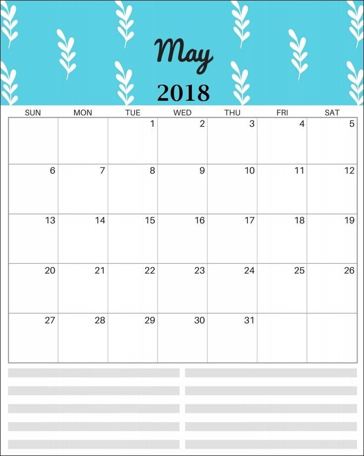 Printable May 2018 Personalized Calendar
