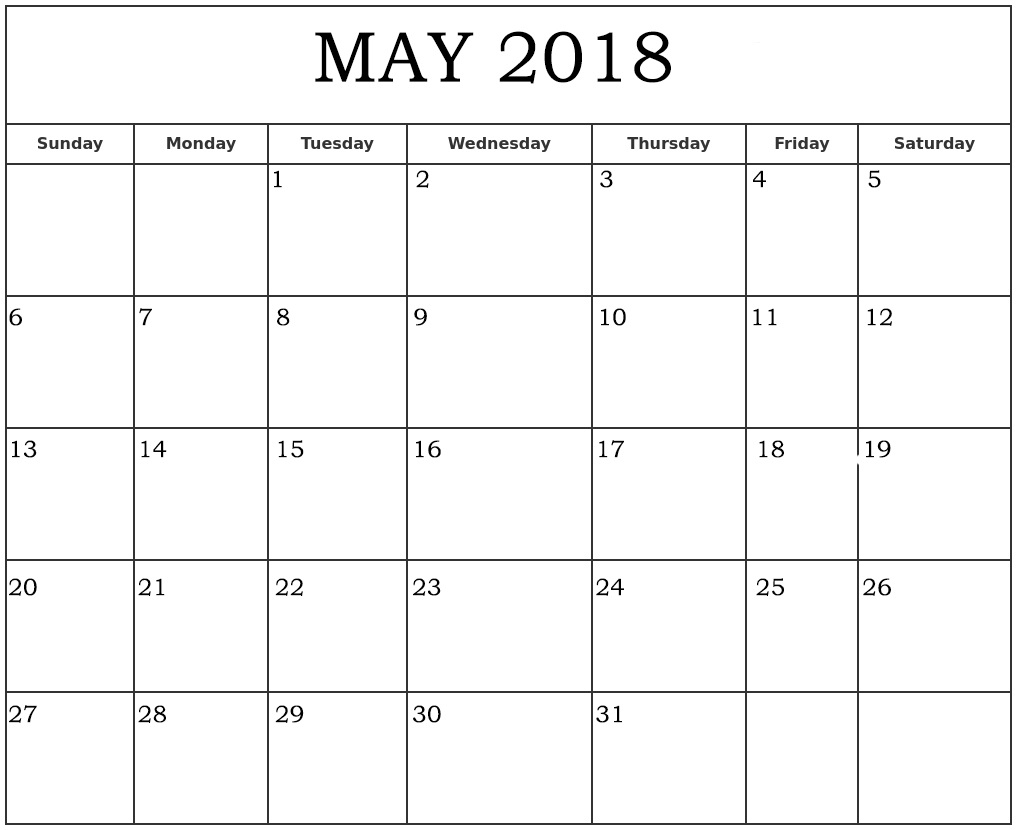 Printable Monthly Calendar May 2018 Page