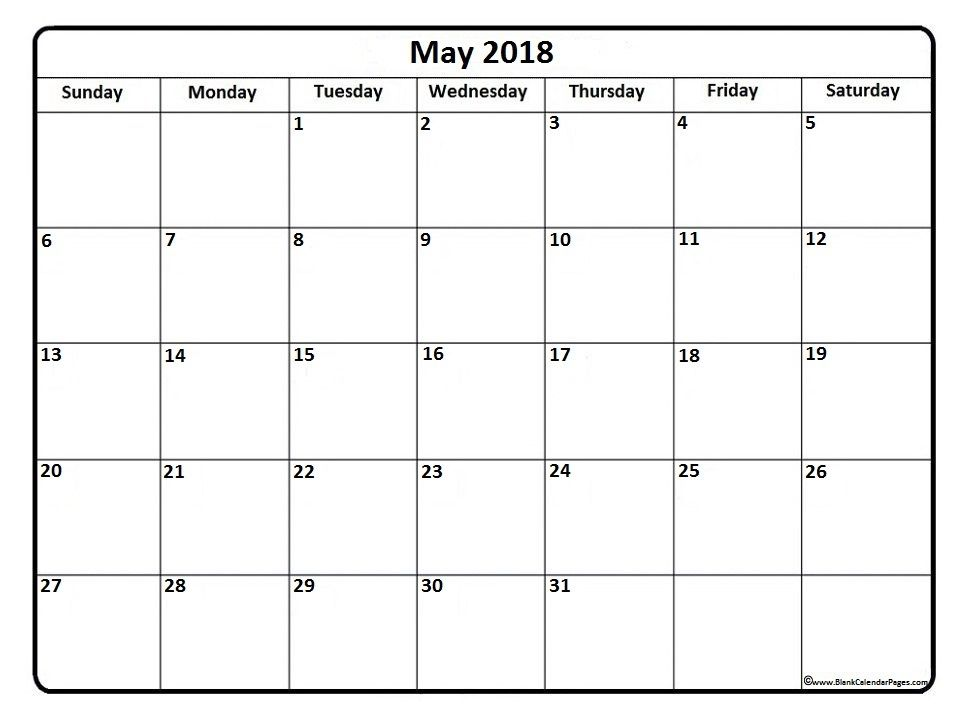 Singapore Calendar for May 2018