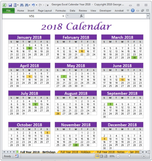 The full year 2018 Calendar In Excel