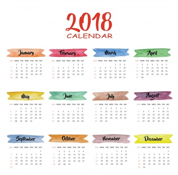 US Calendar Design With Holidays List