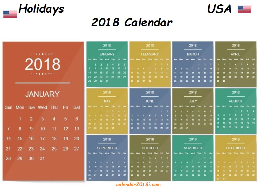 USA 2018 Holidays Calendar