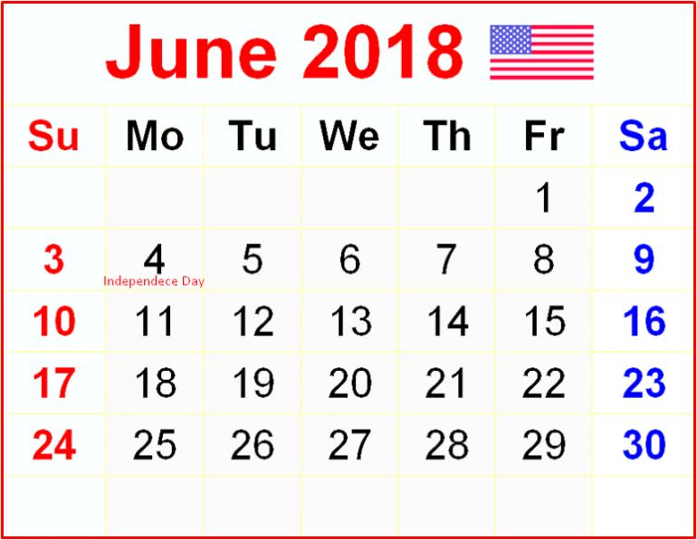 USA Calendar June 2018