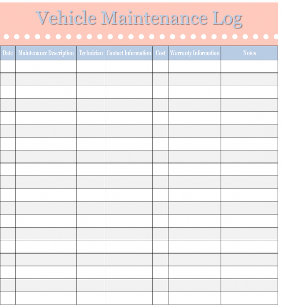Vehicle Maintenance Template