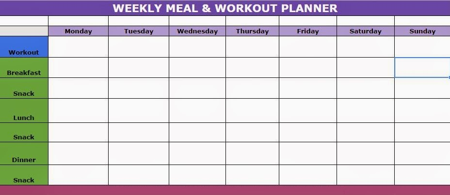 Weekly Meal and Workout Planner