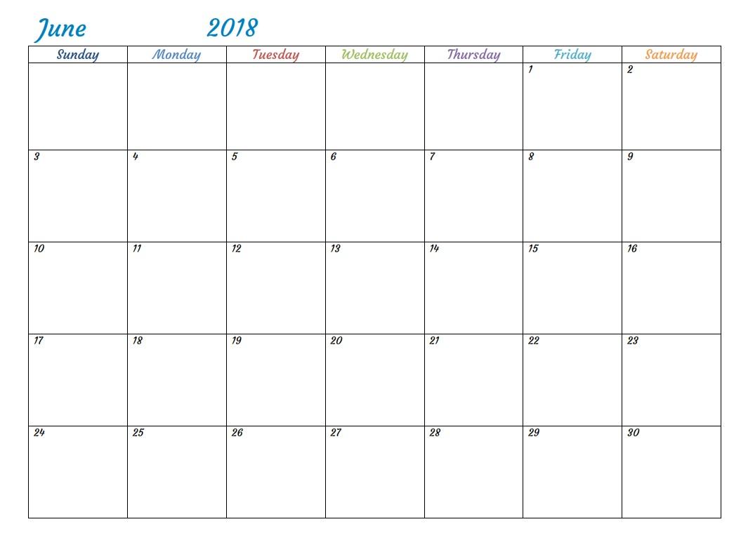 Word Printable Calendar June 2018
