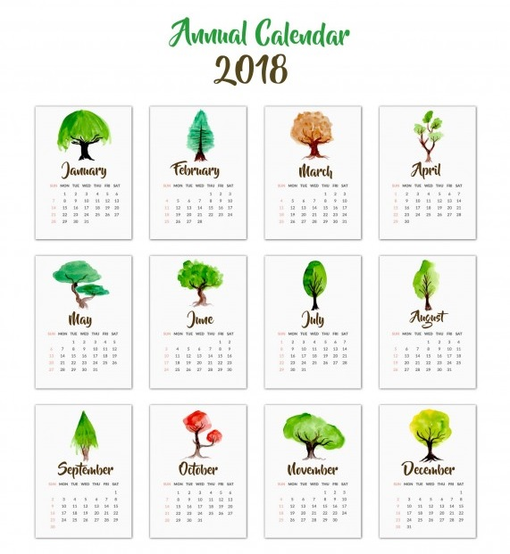 Yearly Calendar 2018 12 Months
