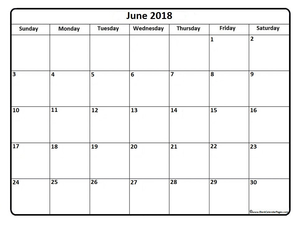 2018 Blank Calendar For June Month