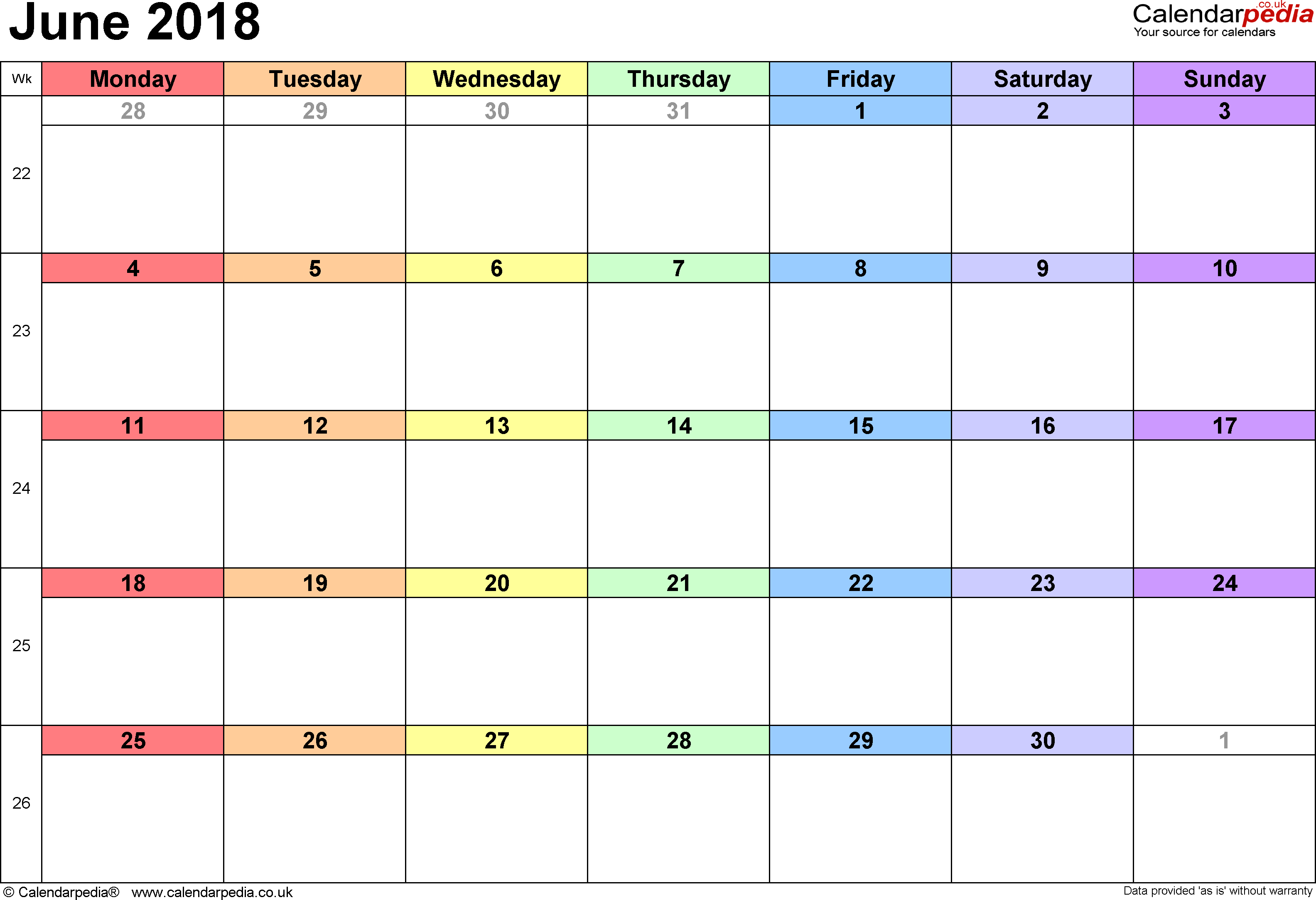 2018 Calendar For June Month
