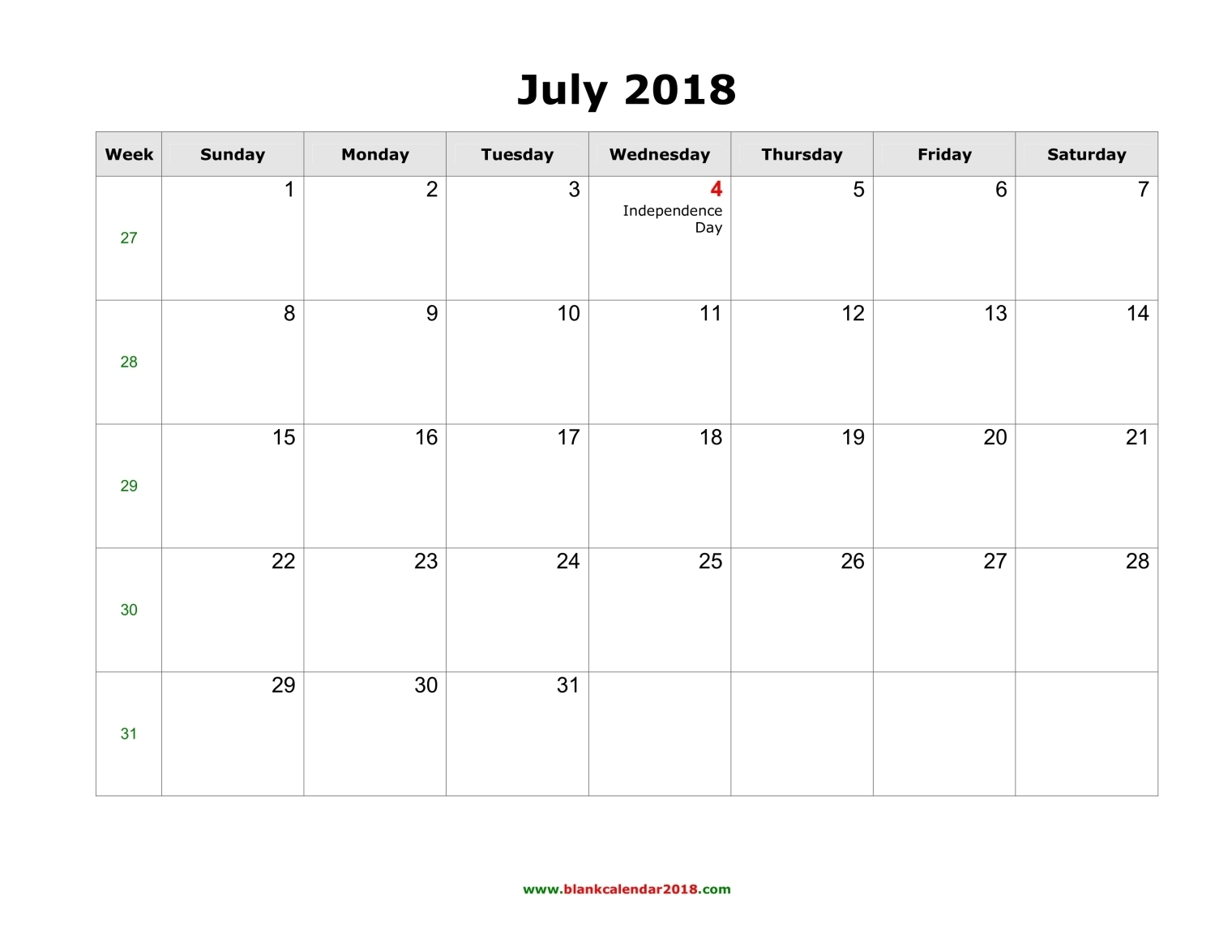 2018 Holidays For July Calendar