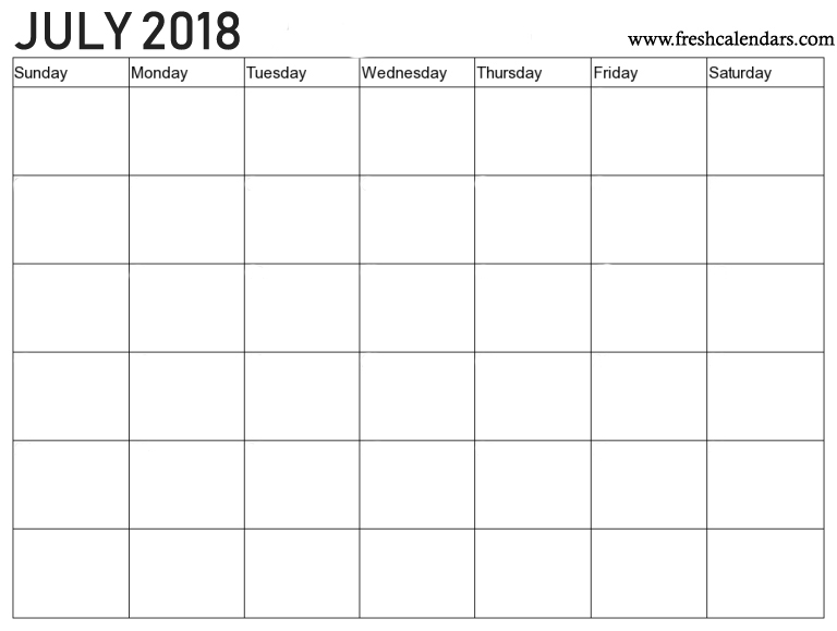 2018 July Blank Calendar Template Download