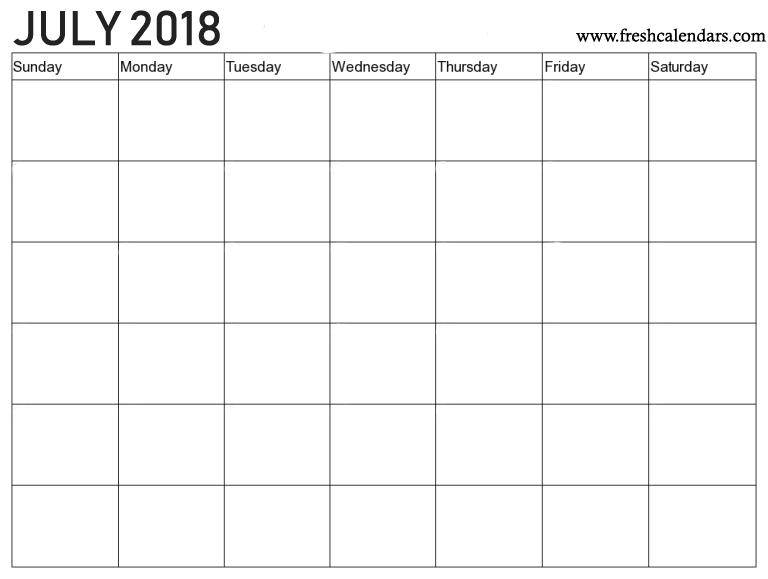 2018 July Blank Calendar Template Download