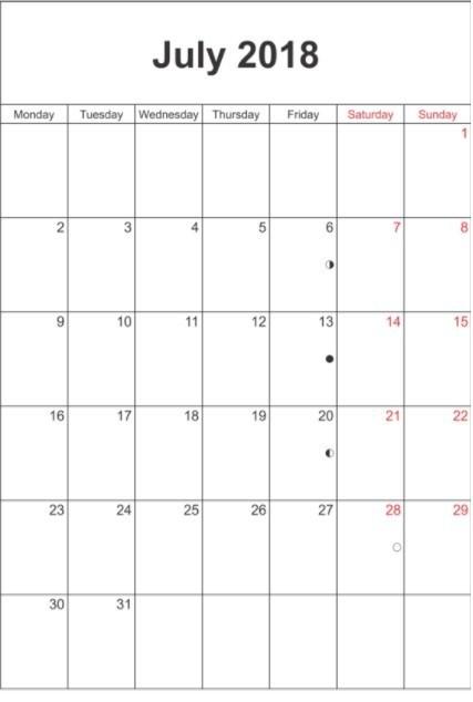 2018 July Blank Calendar