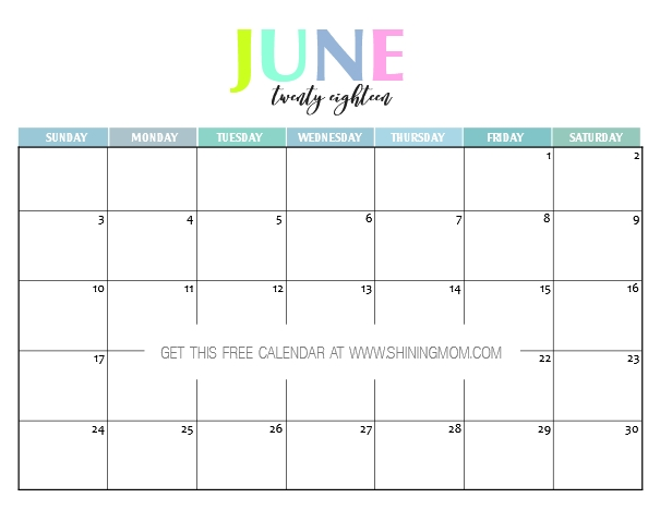 2018 July Calendar Free