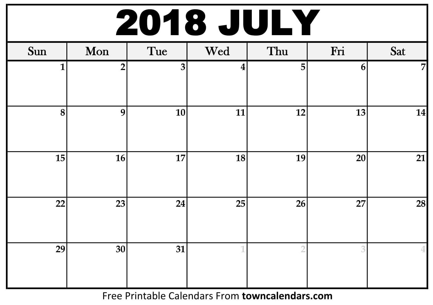 2018 July Calendar Singapore