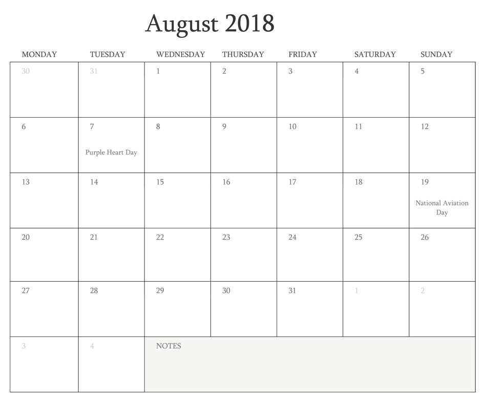 August 2018 Blank Calendar Editable